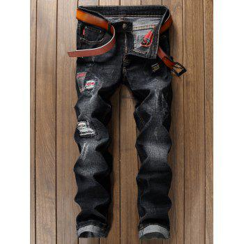 Check Panel Ripped Faded Wash Jeans - BLACK 34