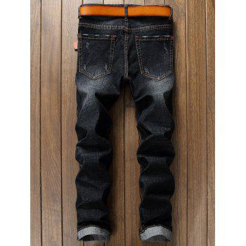 Check Panel Ripped Faded Wash Jeans - BLACK 38