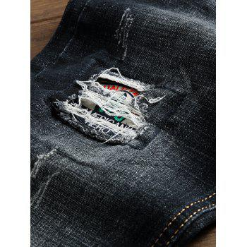 Check Panel Ripped Faded Wash Jeans - BLACK 32