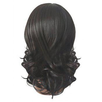 Short Side Parting Wavy Capless Synthetic Wig - BLACK