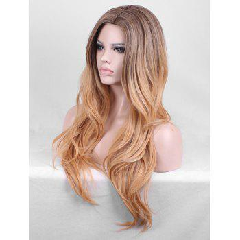 Long Length Side Parting Layer Slightly Curly Party Synthetic Wig - TAN