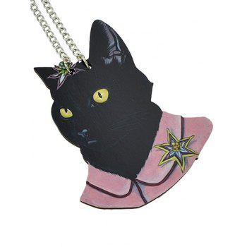 Cat Head Design Chain Pendant Necklace - BLACK