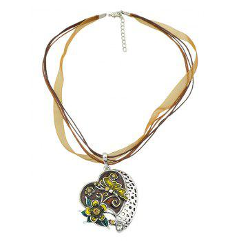 Flowers Heart Design Design Layer Necklace - COFFEE