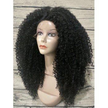 Long Afro Kinky Curly Heat Synthetic Lace Front Wig - BLACK