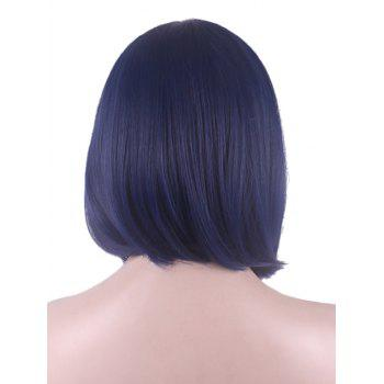 Short Side Bang High Low Straight Bob Cospaly Synthetic Wig - NAVY BLUE