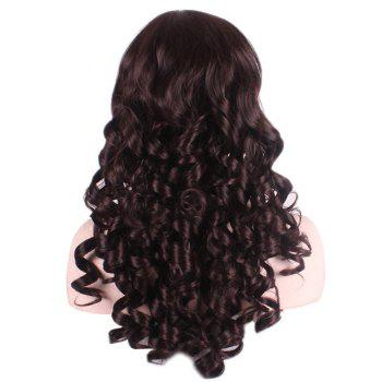 Long Oblique Bang Body Wave Party Synthetic Wig - DEEP BROWN