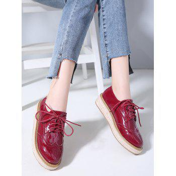Lace Up Espadrilles Platform Sneakers - CHESTNUT RED 40