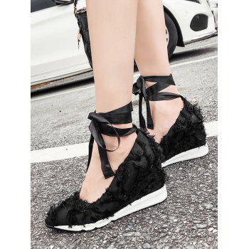 Pointed Toe Wedge Heel Sneakers - BLACK 37