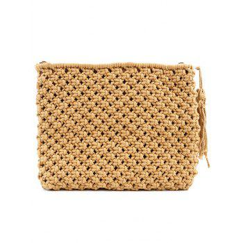 Tassel Straw Braided Clutch Bag - COFFEE