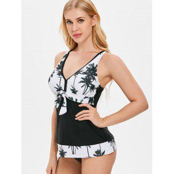 Palm Tree Print Open Back Tankini - BLACK XL