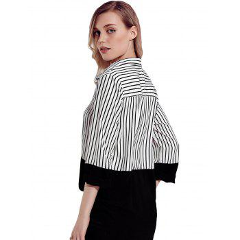 Color Block Striped Shirt - BLACK M