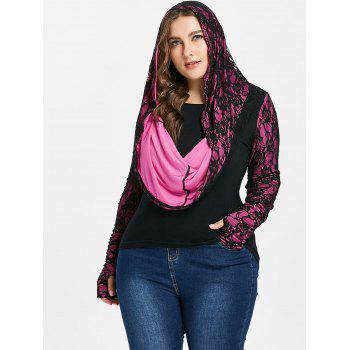 Floral Lace Plus Size Long Sleeve Hoodie - BLACK 1X