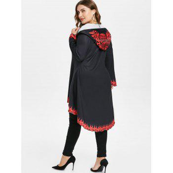 Plus Size Hooded High Low Coat - BLACK 5X