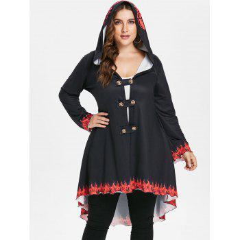Plus Size Hooded High Low Coat - BLACK 1X