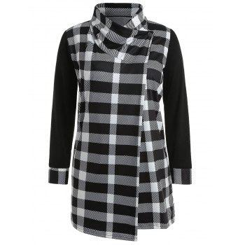 Plus Size Tartan Tunic Coat - multicolor L