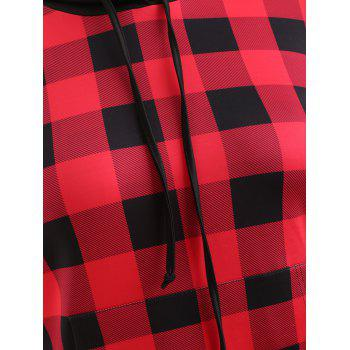 Plus Size Plaid Long Hoodie - RED 1X