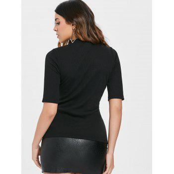Cut Out Front Stretch Bodycon Knitwear - BLACK 2XL