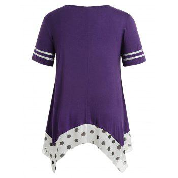 Plus Size Handkerchief Hem Flyaway T-shirt - PURPLE MONSTER 4X