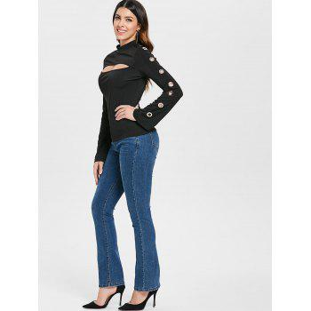 Long Sleeve Cutout T-shirt with Grommets - BLACK L