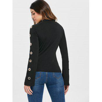 Long Sleeve Cutout T-shirt with Grommets - BLACK XL