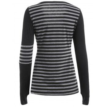 Cut Out Front Long Sleeve Striped T-shirt - BLACK L