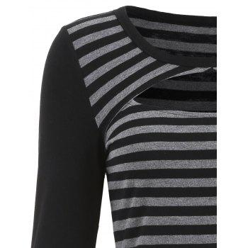 Cut Out Front Long Sleeve Striped T-shirt - BLACK S