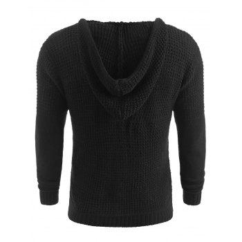 Solid Color Claw Button Hooded Sweater - BLACK M