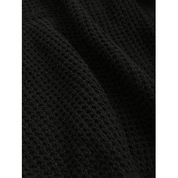 Solid Color Claw Button Hooded Sweater - BLACK 2XL