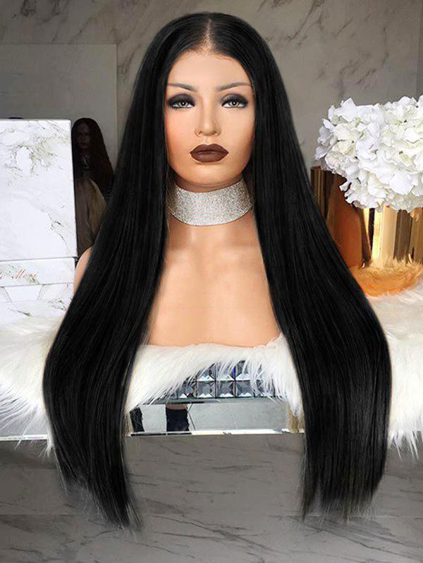 Long Center Parting Straight Party Capless Synthetic Wig - BLACK
