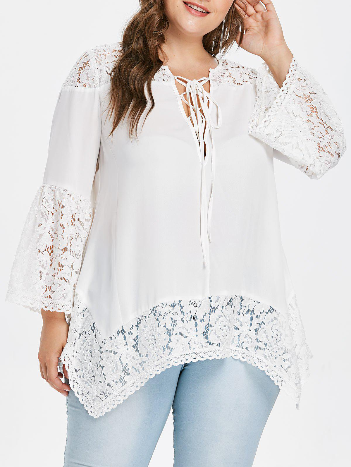 Flare Sleeve Plus Size Lace Panel Blouse - WHITE L