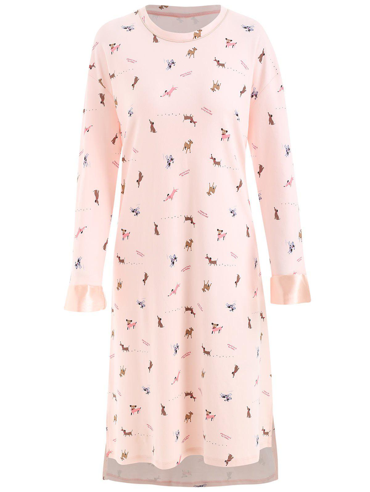 Dog Print Nightgown Dress - LIGHT PINK L