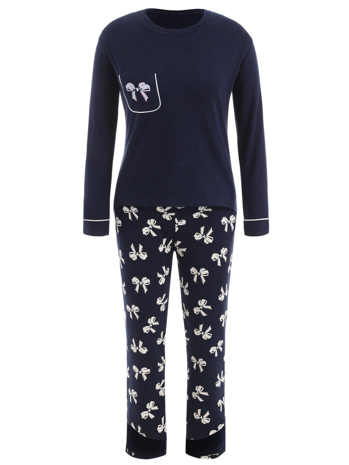 Long Sleeve Bowknot Print Sleep Set - DEEP BLUE XL