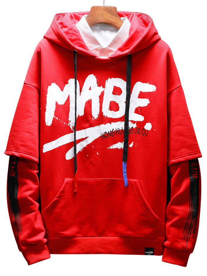 Kanga Pocket Letter Slogan Print Hoodie - RED 3XL