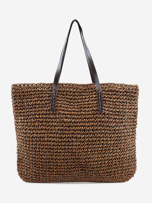 Straw Braided Beach Shoulder Bag - BROWN