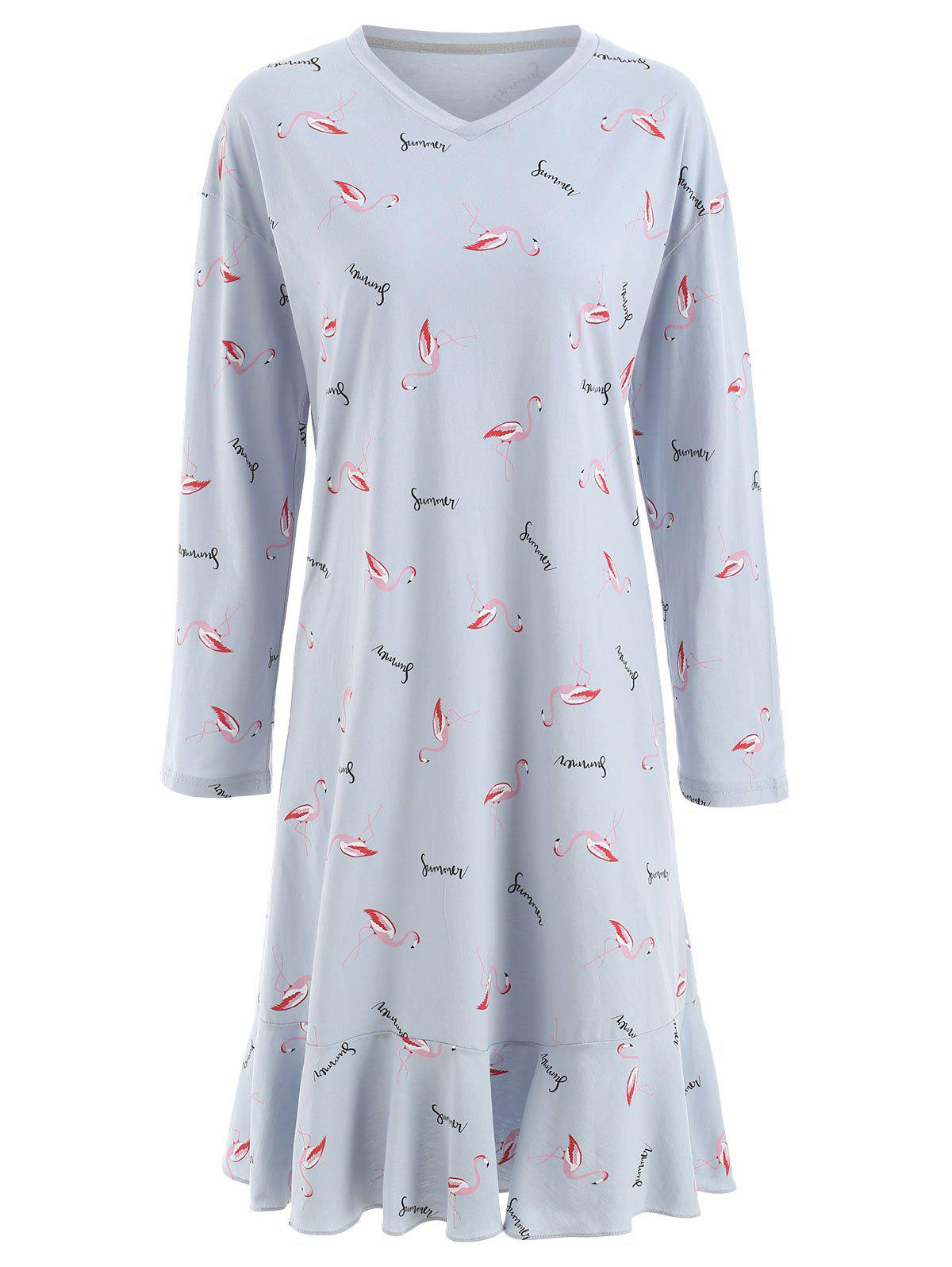 Flamingo Print Sleeping Dress - PASTEL BLUE L