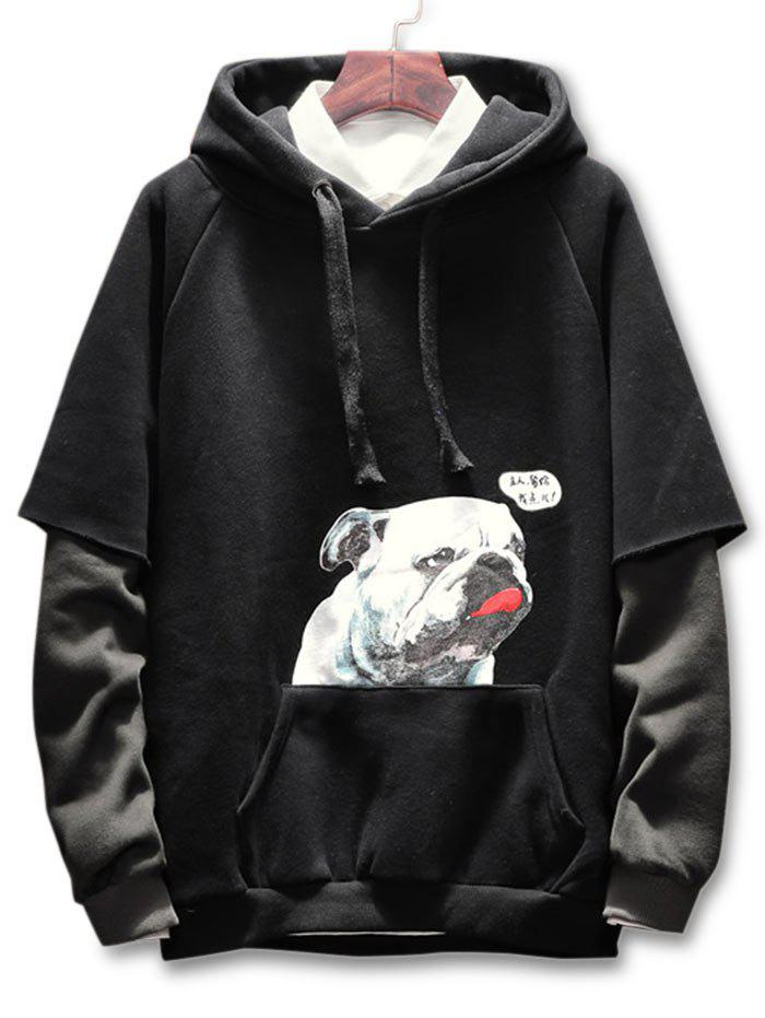Puppy Print Kanga Pocket Hoodie - BLACK 3XL