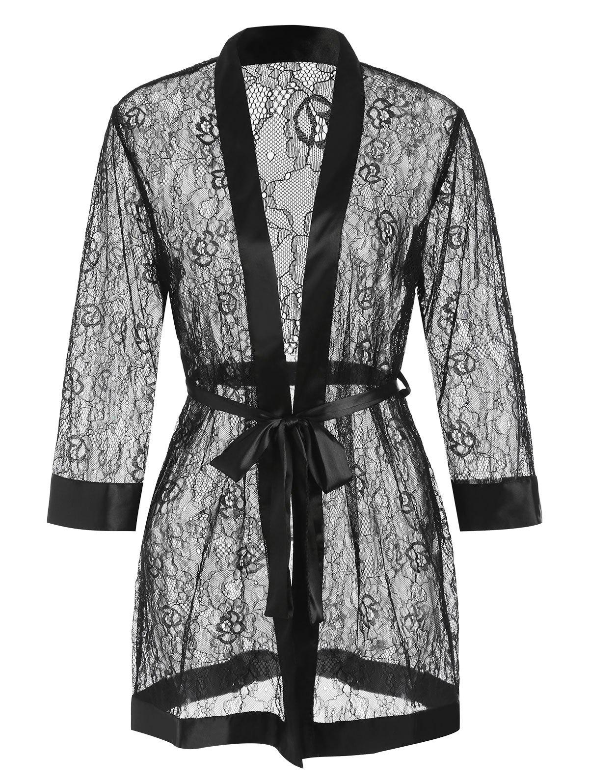 Long Sleeves Lace Sleeping Robe with Belt - BLACK ONE SIZE