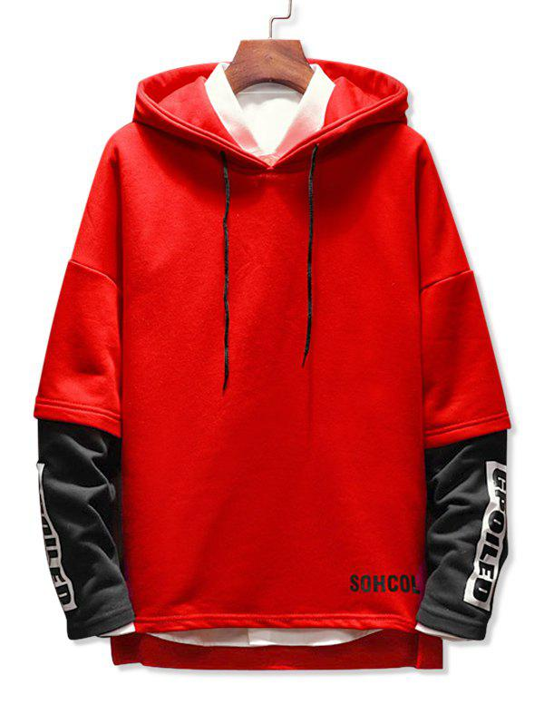 Faux Two Pieces Letter Printing Drawstring Hoodie - RED M