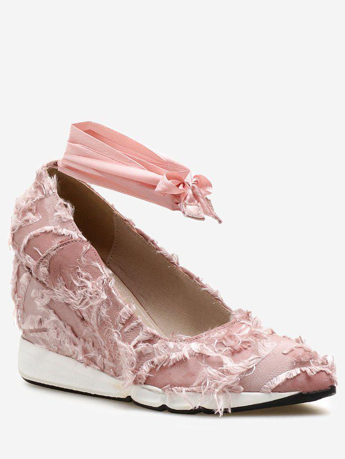 Frayed Trim Tie Leg Wedge Heel Shoes - LIGHT PINK 38