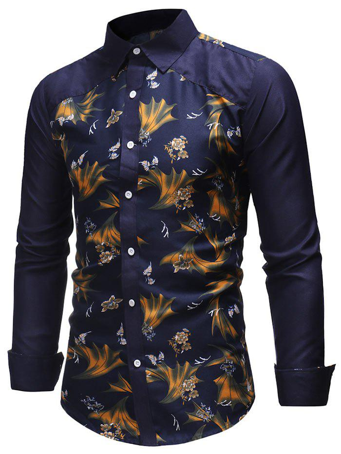 Flower and Leaves Print Slim Fit Shirt