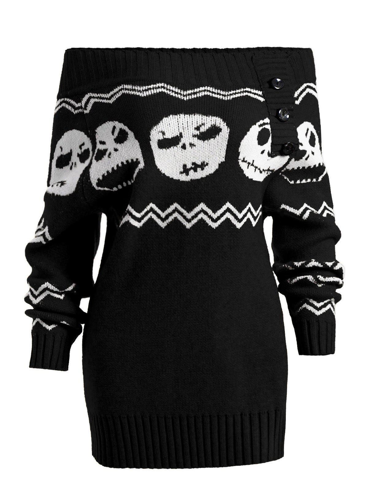 Halloween Off Shoulder Skull Tunic Sweater - BLACK L