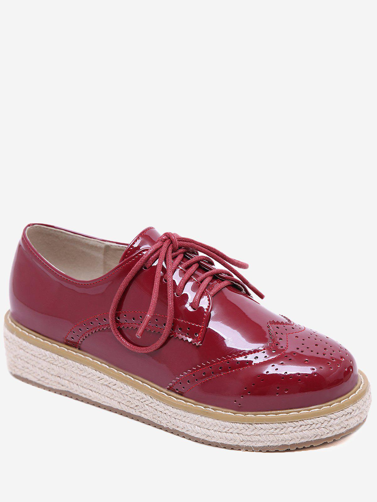 Lace Up Espadrilles Platform Sneakers - CHESTNUT RED 36