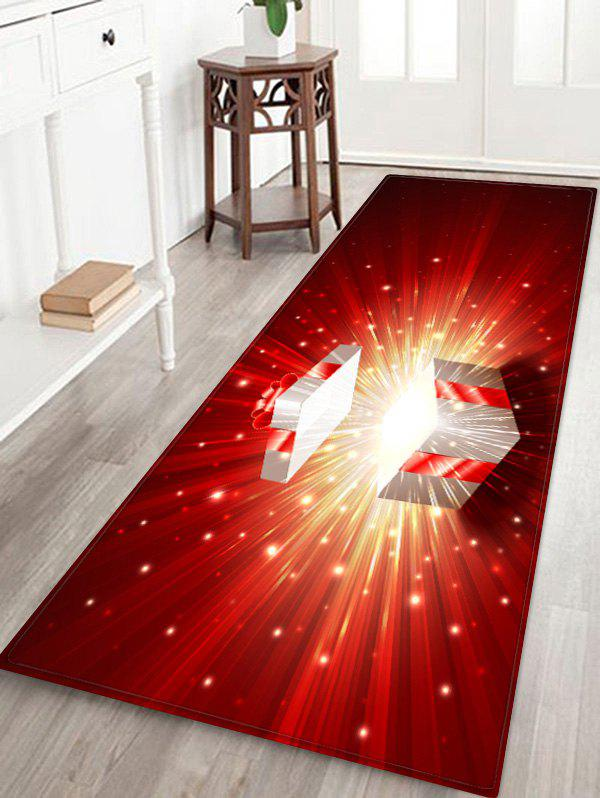 3D Christmas Gift Printed Water Absorption Floor Rug - multicolor W24 INCH * L71 INCH
