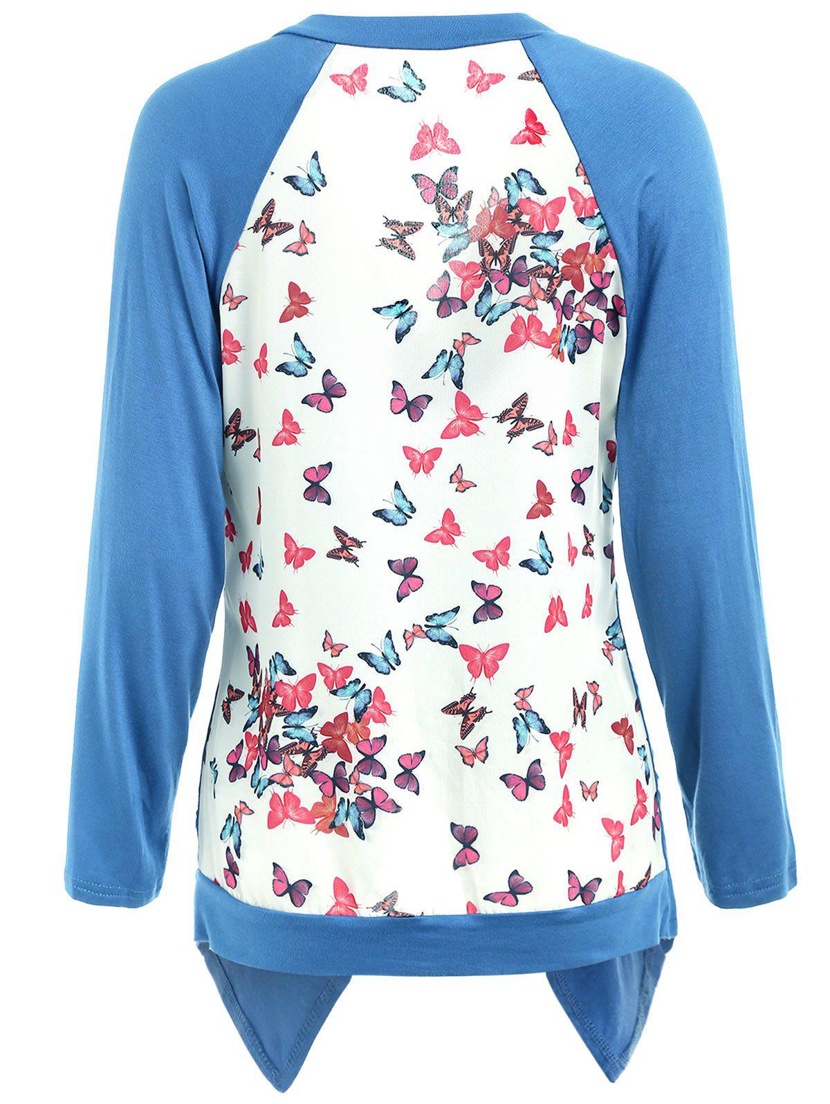Collarless Back Butterfly Print Cardigan - BLUE 2XL