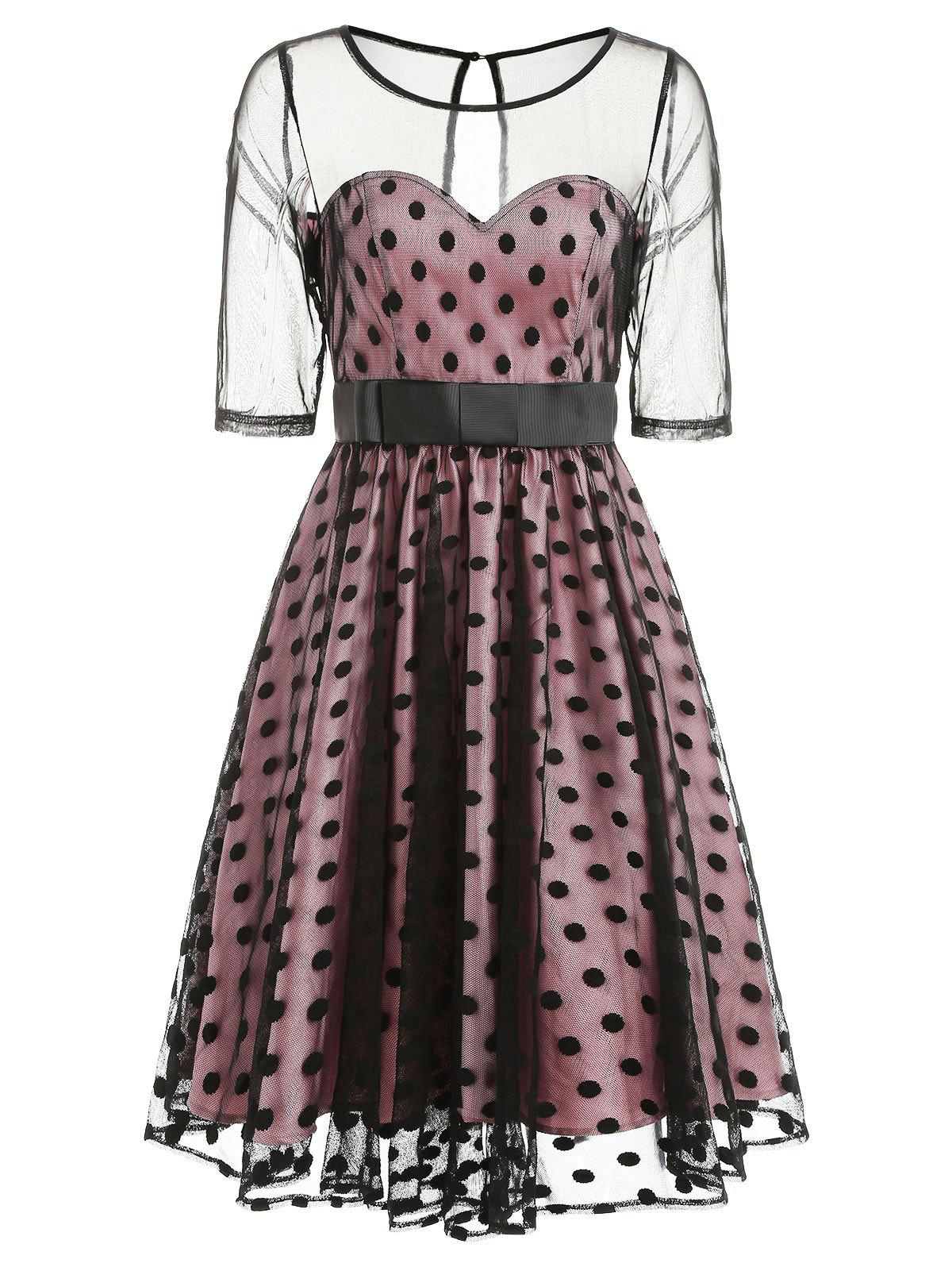 Retro Mesh Panel Polka Dot Flare Dress - BLACK L