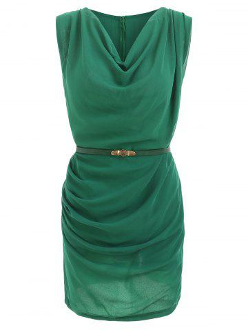 37e9bea92813 Slimming Cowl Neck Sleeveless Belt Design Solid Color Packet Buttock Dress