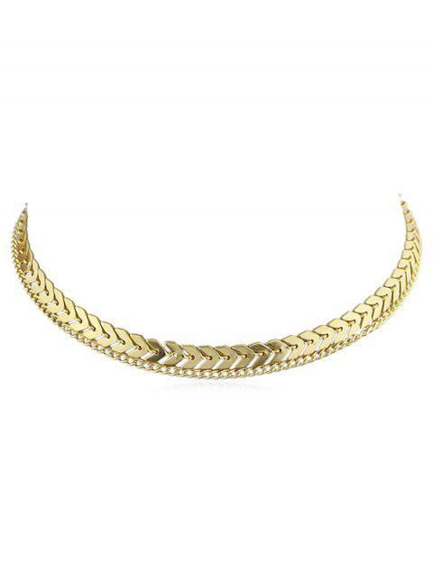 Layer Fishbone Alloy Chain Necklace - GOLD