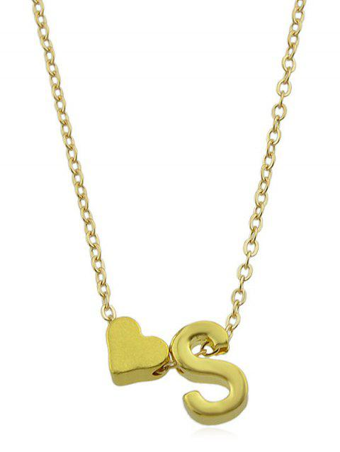 Love Heart Letter Designed Chain Necklace - GOLD