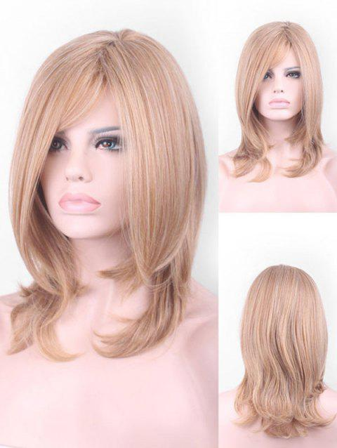 Short Inclined Bang Colormix Straight Cosplay Synthetic Wig - multicolor