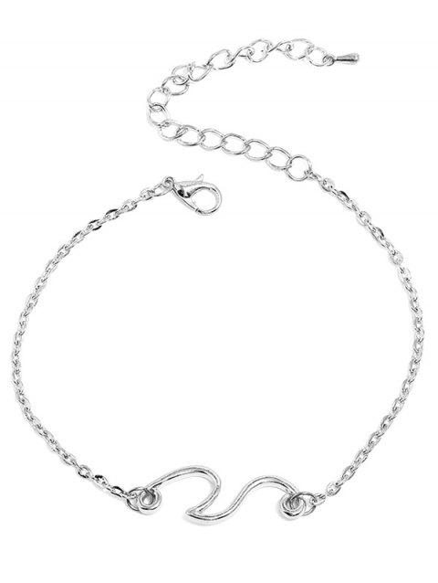 Beach Wave Alloy Chain Anklet - SILVER